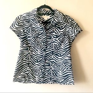 Michael Kors Zebra Print Animal Print Buttonup Top